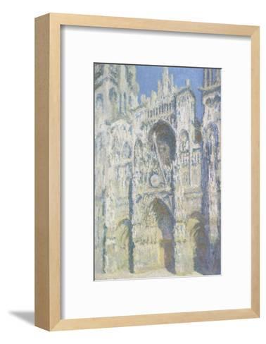 Cathédrale de Rouen, le portail et la tour Saint Romain, plein soleil, harmonie bleue et or-Claude Monet-Framed Art Print