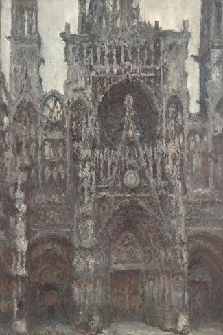 Rouen Cathedral, the Portal Front View, Harmony Brown-Claude Monet-Stretched Canvas Print
