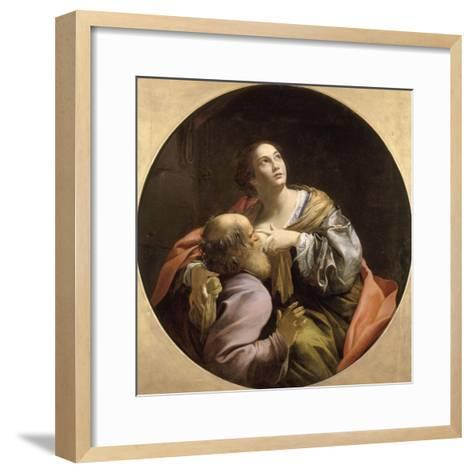 La Charité romaine-Simon Vouet-Framed Art Print