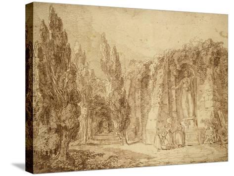 Ruines romaines dans un parc, fontaine ornée d'une statue colossale de Minerve-Hubert Robert-Stretched Canvas Print