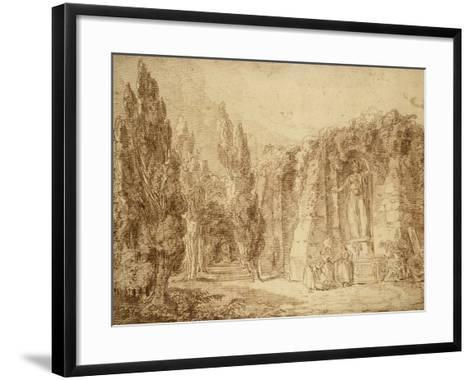 Ruines romaines dans un parc, fontaine ornée d'une statue colossale de Minerve-Hubert Robert-Framed Art Print