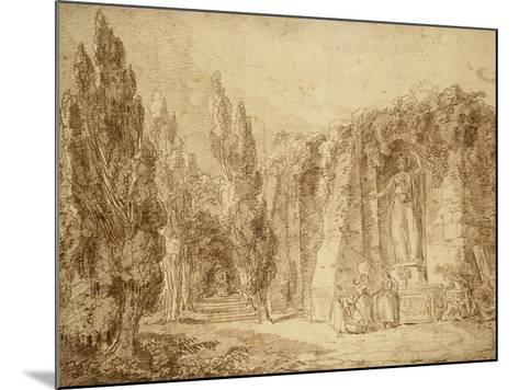 Ruines romaines dans un parc, fontaine ornée d'une statue colossale de Minerve-Hubert Robert-Mounted Giclee Print