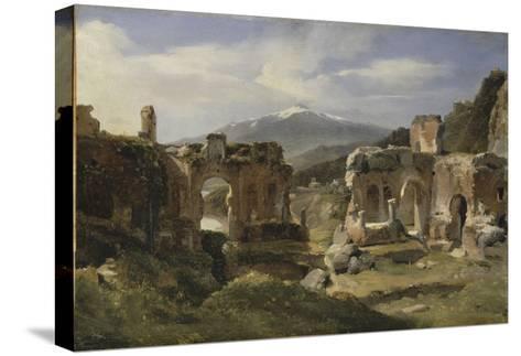 Ruine du théatre de Taormine (Sicile)-Achille Etna Michallon-Stretched Canvas Print