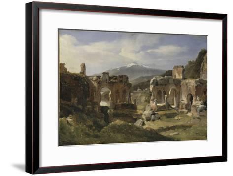 Ruine du théatre de Taormine (Sicile)-Achille Etna Michallon-Framed Art Print