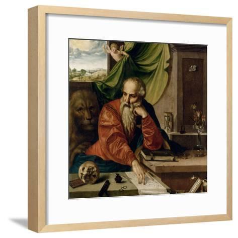 Saint Jérôme en méditation-Georg Pencz-Framed Art Print