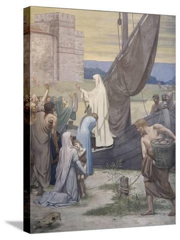 Sainte Geneviève ravitaille Paris assiégé par les Huns d'Attila-Pierre Puvis de Chavannes-Stretched Canvas Print