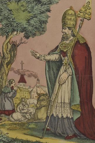 Saint Cornely, protecteur des bestiaux--Stretched Canvas Print