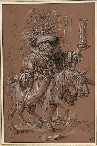 """Saint Nicolas sur un âne, costumé en """"Vielfrass"""" ou glouton-Jost Amman-Stretched Canvas Print"""