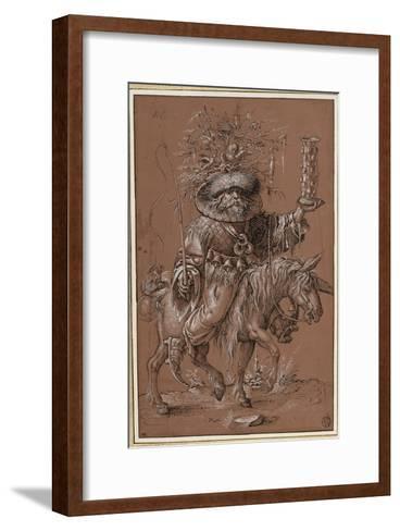 """Saint Nicolas sur un âne, costumé en """"Vielfrass"""" ou glouton-Jost Amman-Framed Art Print"""