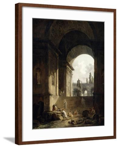 Vue pittoresque du Capitole-Hubert Robert-Framed Art Print