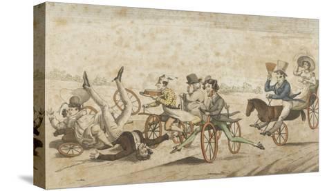 Série de caricatures parisiennes:  plaisirs et désagréments du vélocipède et  chevaux orifères--Stretched Canvas Print
