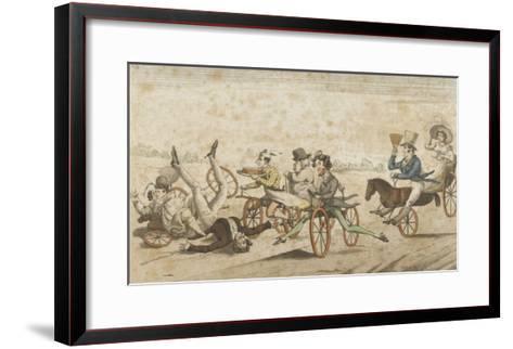 Série de caricatures parisiennes:  plaisirs et désagréments du vélocipède et  chevaux orifères--Framed Art Print