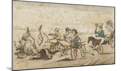 Série de caricatures parisiennes:  plaisirs et désagréments du vélocipède et  chevaux orifères--Mounted Giclee Print