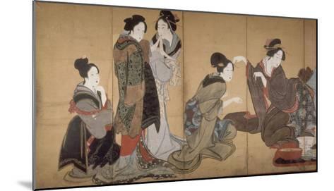 Paravent ? huit volets : Neuf femmes jouant au jeu du renard-Katsushika Hokusai-Mounted Giclee Print