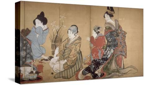 Paravent ? huit volets : Neuf femmes jouant au jeu du renard-Katsushika Hokusai-Stretched Canvas Print