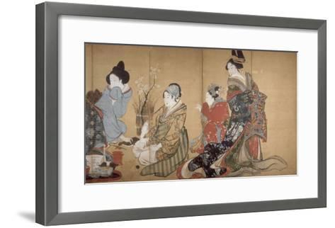 Paravent ? huit volets : Neuf femmes jouant au jeu du renard-Katsushika Hokusai-Framed Art Print
