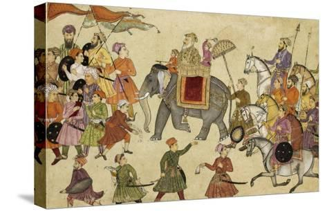 Shah Jahan Mounted on an Elephant with His Retinue--Stretched Canvas Print