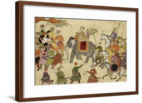 Shah Jahan Mounted on an Elephant with His Retinue--Framed Art Print