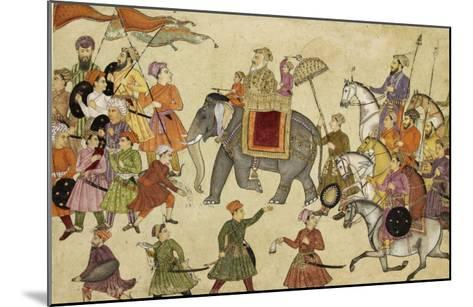 Shah Jahan Mounted on an Elephant with His Retinue--Mounted Giclee Print
