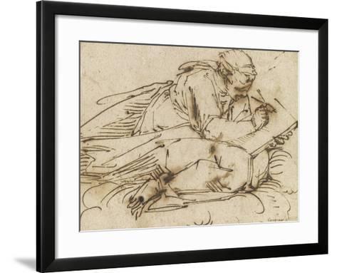 Sibylle accroupie, écrivant-Luca Cambiaso-Framed Art Print