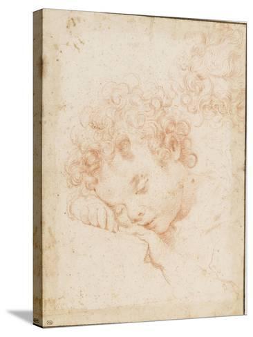 Tête d'enfant dormant et détail de chevelure bouclée-Carlo Dolci-Stretched Canvas Print