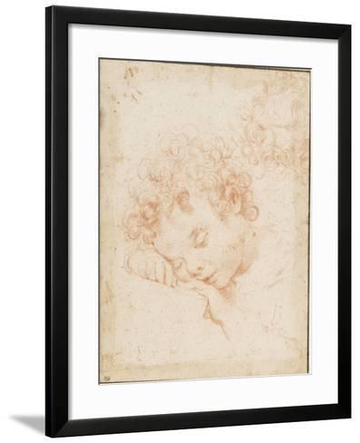 Tête d'enfant dormant et détail de chevelure bouclée-Carlo Dolci-Framed Art Print