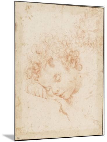 Tête d'enfant dormant et détail de chevelure bouclée-Carlo Dolci-Mounted Giclee Print