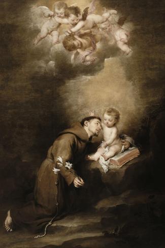 Saint Antoine de Padoue et l'Enfant Jésus-Bartolome Esteban Murillo-Stretched Canvas Print