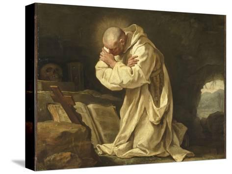Saint Bruno en prière dans le désert-Jean Bernard Restout-Stretched Canvas Print