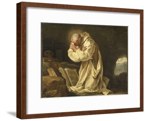 Saint Bruno en prière dans le désert-Jean Bernard Restout-Framed Art Print