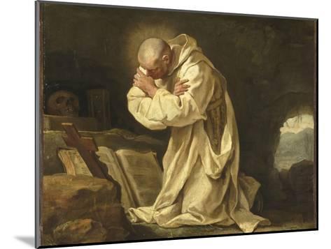 Saint Bruno en prière dans le désert-Jean Bernard Restout-Mounted Giclee Print