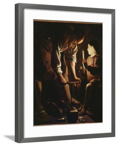 Saint Joseph charpentier-Maurice Quentin de La Tour-Framed Art Print