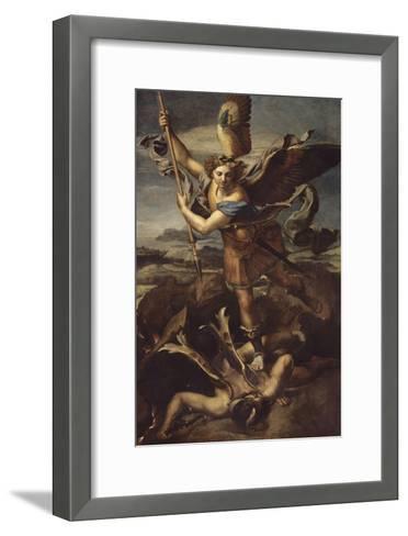 Saint Michel terrassant le démon dit Le Grand Saint Michel-Raffaello Sanzio-Framed Art Print