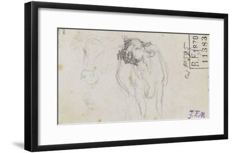 Etudes de boeuf et d'une t� de boeuf-Jean-Fran?ois Millet-Framed Art Print