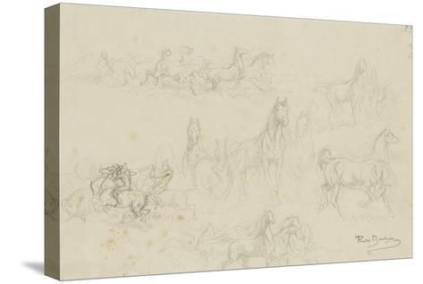 Etudes de chevaux pour 'le dépiquage des blés dans la Camargue'-Rosa Bonheur-Stretched Canvas Print