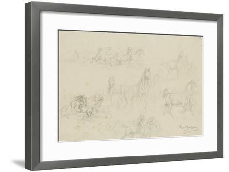 Etudes de chevaux pour 'le dépiquage des blés dans la Camargue'-Rosa Bonheur-Framed Art Print