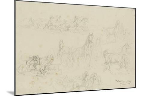 Etudes de chevaux pour 'le dépiquage des blés dans la Camargue'-Rosa Bonheur-Mounted Giclee Print