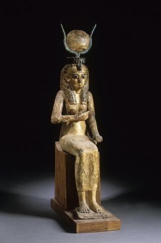 Statue of the Goddess Isis Suckling the Child Horus--Stretched Canvas Print