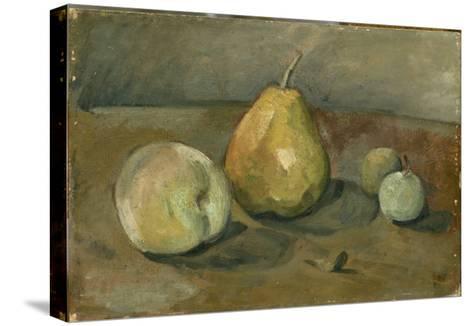 Nature morte, poire et pommes vertes-Paul C?zanne-Stretched Canvas Print