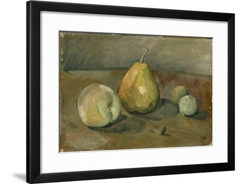 Nature morte, poire et pommes vertes-Paul C?zanne-Framed Art Print