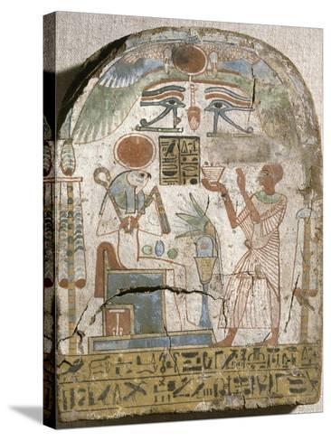 Stèle du prêtre Padiiset offrant l'encens au dieu Rê-Horakhty--Stretched Canvas Print