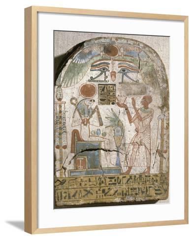 Stèle du prêtre Padiiset offrant l'encens au dieu Rê-Horakhty--Framed Art Print