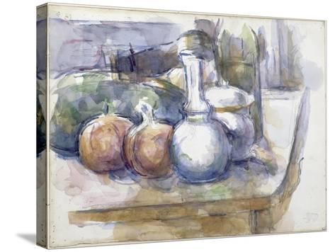 Nature morte avec fruits, carafe, sucrier et bouteille-Paul C?zanne-Stretched Canvas Print
