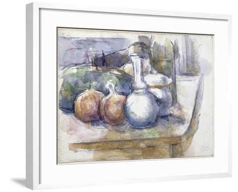 Nature morte avec fruits, carafe, sucrier et bouteille-Paul C?zanne-Framed Art Print