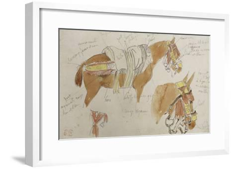 Etude de mule harnachée; 1832-Eugene Delacroix-Framed Art Print
