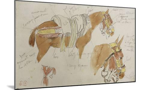 Etude de mule harnachée; 1832-Eugene Delacroix-Mounted Giclee Print