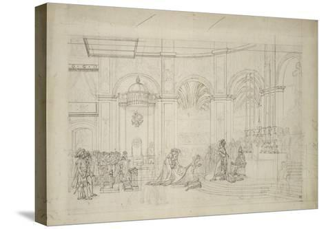 """Study Perspective for the """"Coronation of Napoleon I.""""-Jacques-Louis David-Stretched Canvas Print"""