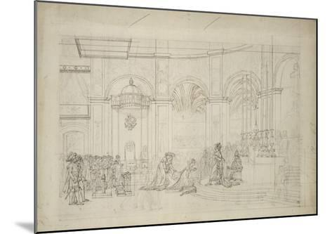 """Study Perspective for the """"Coronation of Napoleon I.""""-Jacques-Louis David-Mounted Giclee Print"""