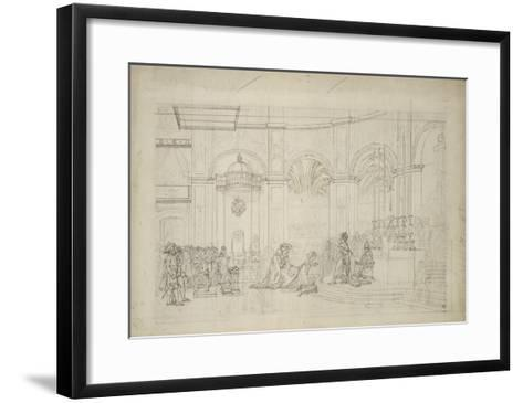 """Study Perspective for the """"Coronation of Napoleon I.""""-Jacques-Louis David-Framed Art Print"""
