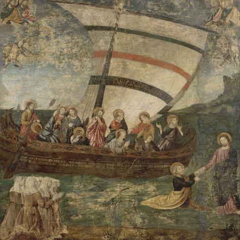 """La """"Navicella"""", d'après Giotto-Giotto di Bondone-Stretched Canvas Print"""
